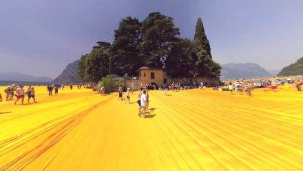 This 360° Video shows a walk on Christo's fascinating piece of art in Northern Italy. The movements of the camera let you feel the waves.